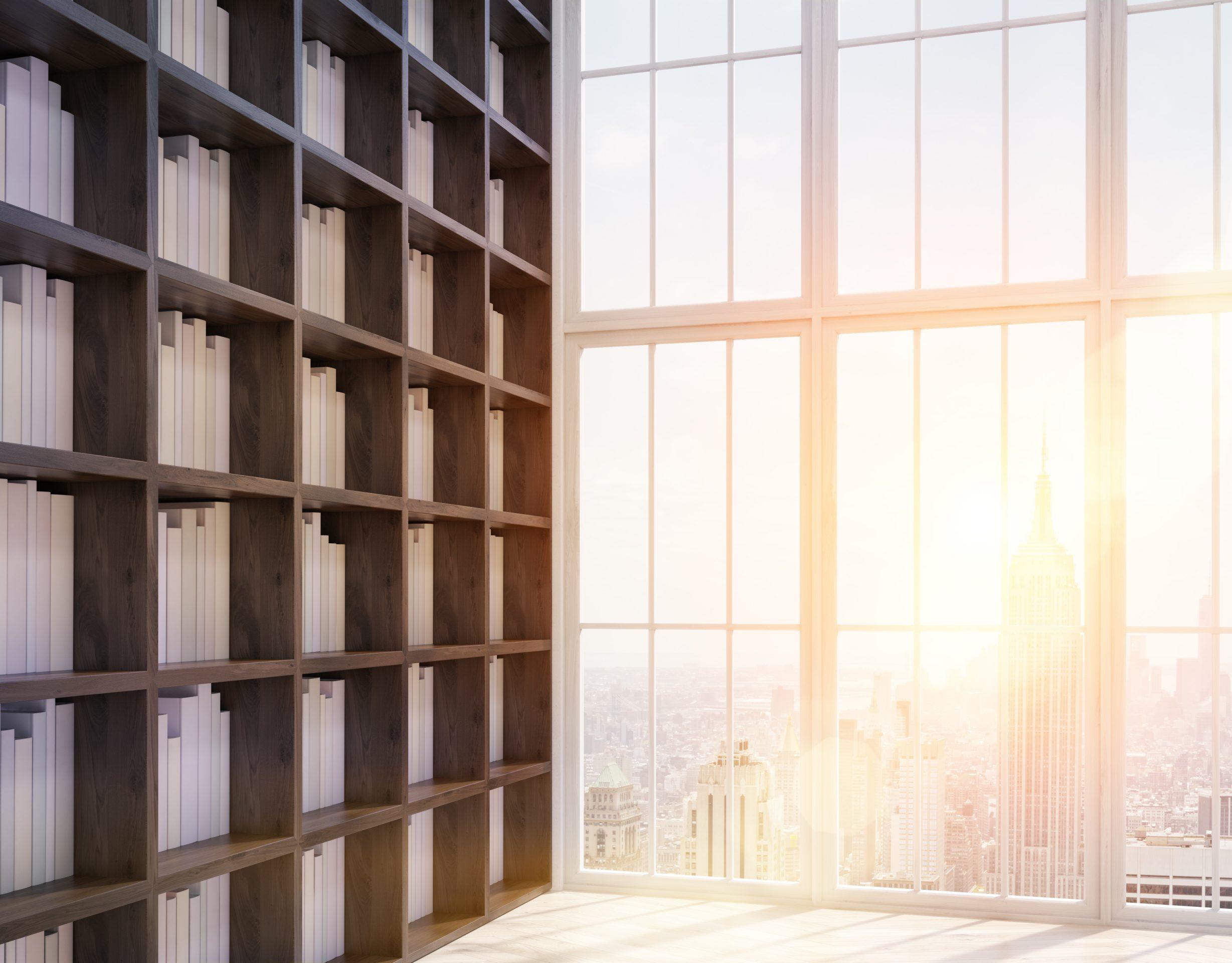 Bibliotheken, Archive und Musikschulen: Bücherregal steht vor einer Fensterfront.